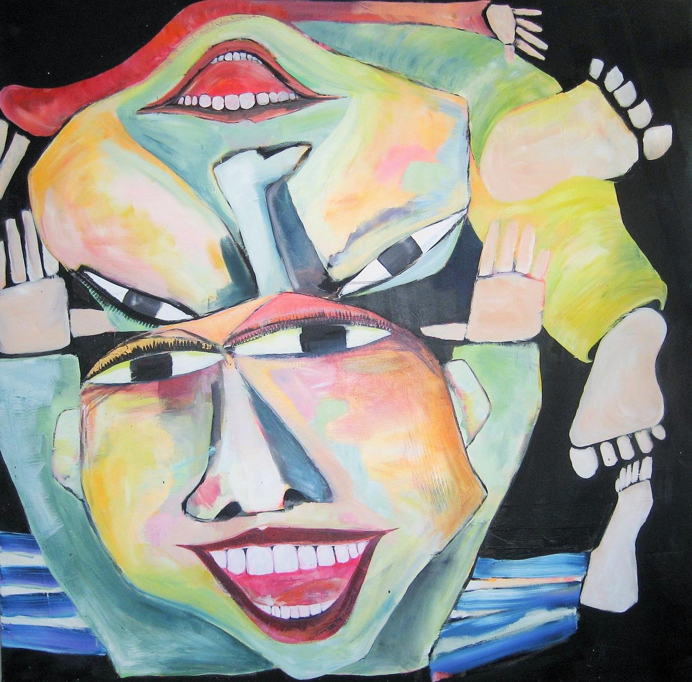 Akryl-på-lærred,-100x100-cm,-Serie2-Titel-Trampolinhop-i-mørke,-Pris-6000