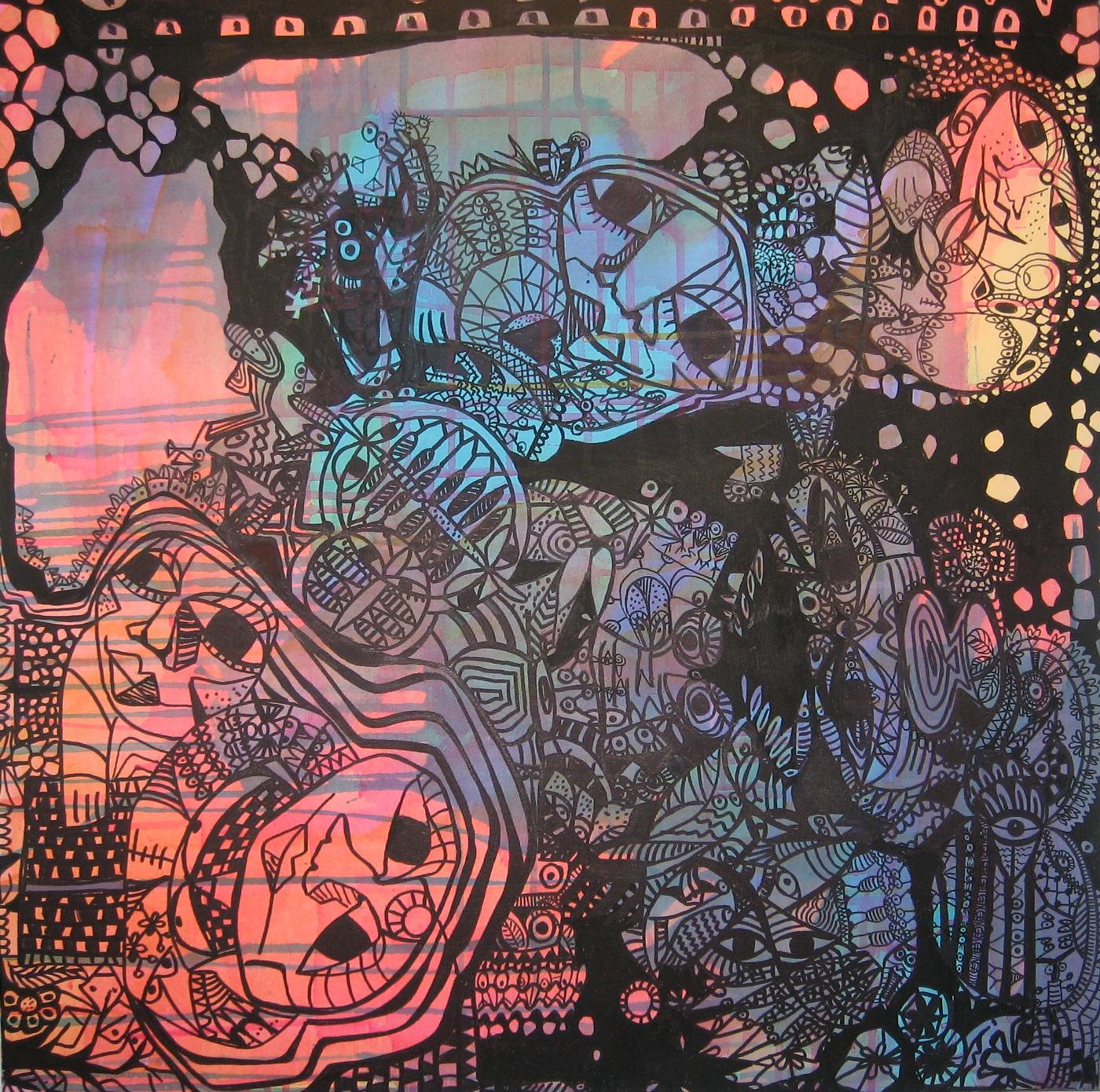 Tush på Akryl 2, 70x70cm, Titel Godnathistorier, Beskrivelse Der, hvor alt kan ske, mellem drøm og virkelighed. Pris 3000