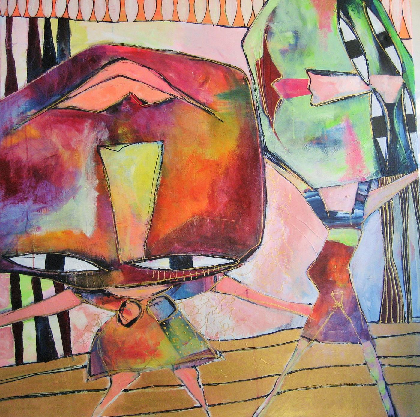 dansepiger maleri akryl på lærred