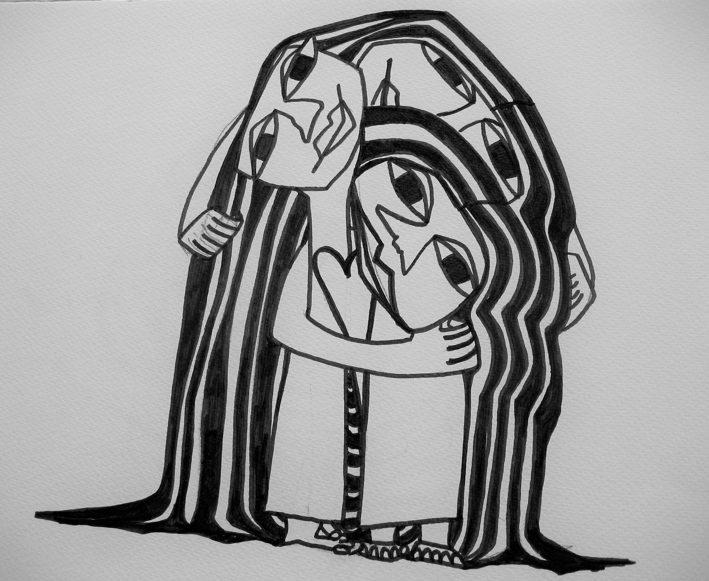 Kunst tusch på papir Søsterkærlighed