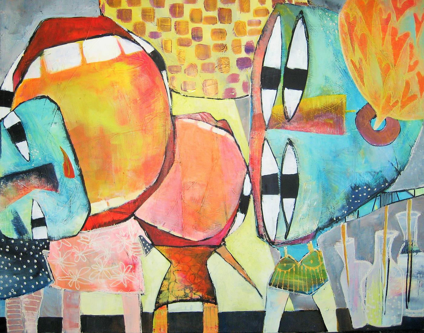 Maleri akryl på lærred Tweens til fest